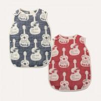 日本製 OVLOV 六重紗布睡袋  吉他  藍色/紅色