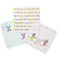 Disney 新設計 Mickey & Minnie 藍色 紗巾 三枚組 [日本製]